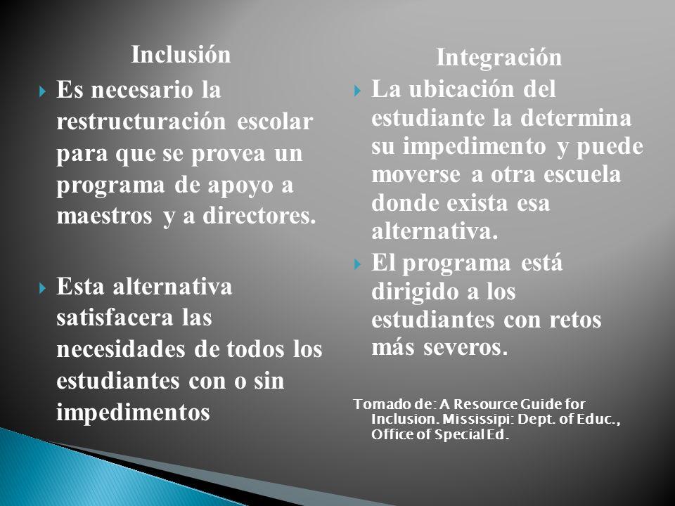 Inclusión Es necesario la restructuración escolar para que se provea un programa de apoyo a maestros y a directores. Esta alternativa satisfacera las