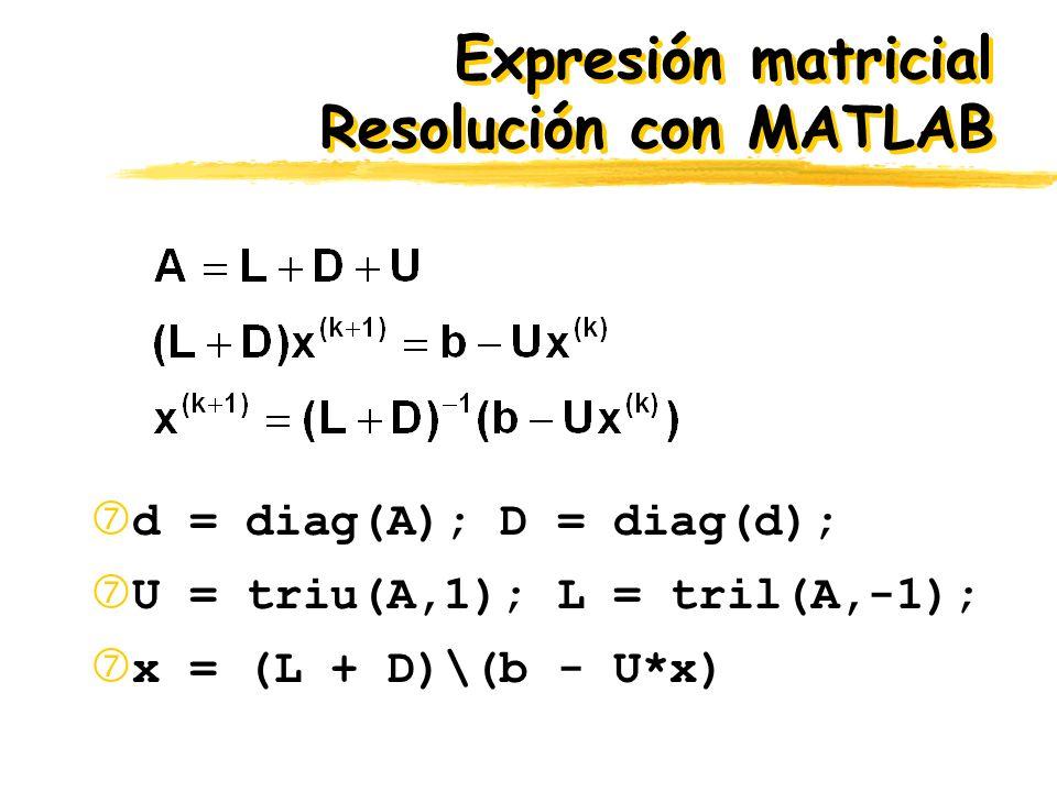 Expresión matricial Resolución con MATLAB d = diag(A); D = diag(d); U = triu(A,1); L = tril(A,-1); x = (L + D)\(b - U*x)