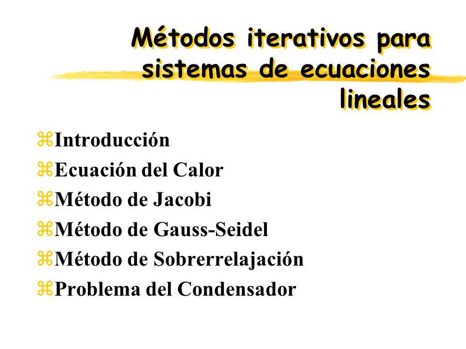 zIntroducción zEcuación del Calor zMétodo de Jacobi zMétodo de Gauss-Seidel zMétodo de Sobrerrelajación zProblema del Condensador