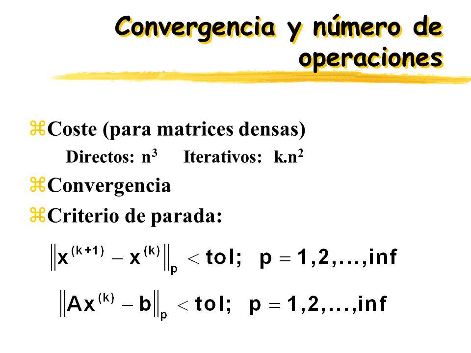 Convergencia y número de operaciones zCoste (para matrices densas) Directos: n 3 Iterativos: k.n 2 zConvergencia zCriterio de parada: