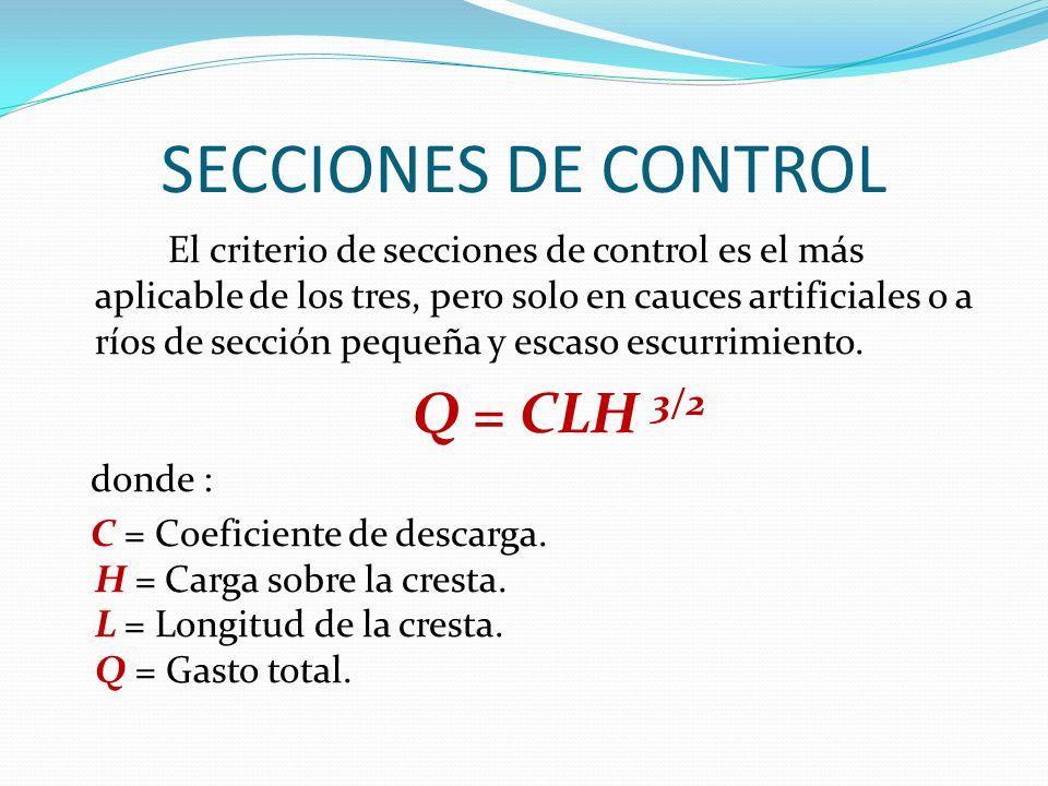 SECCIONES DE CONTROL El criterio de secciones de control es el más aplicable de los tres, pero solo en cauces artificiales o a ríos de sección pequeña y escaso escurrimiento.