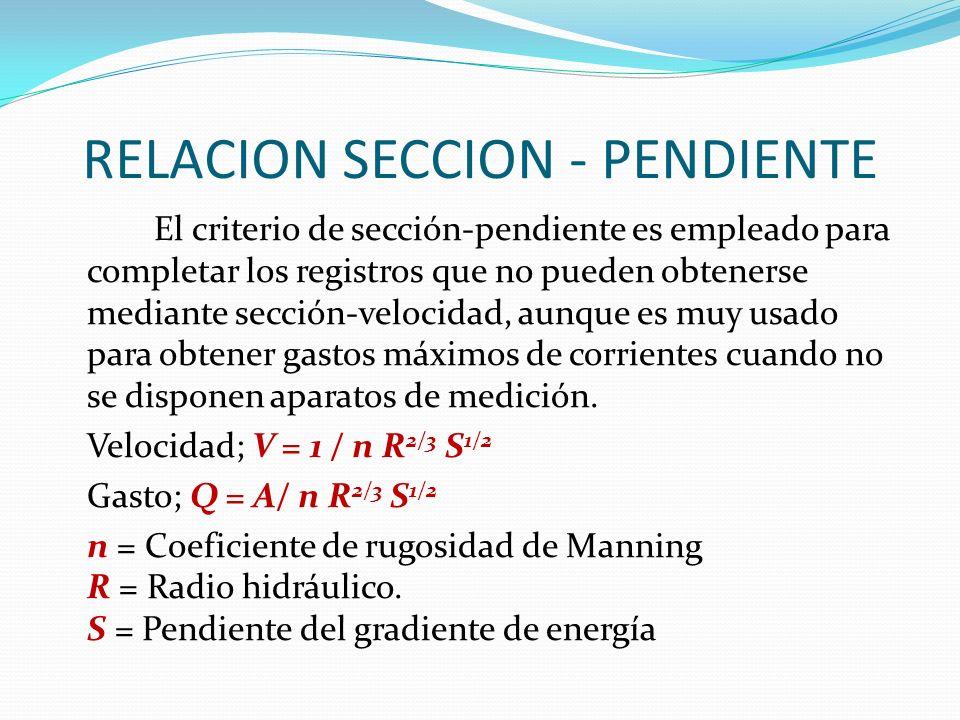 RELACION SECCION - PENDIENTE El criterio de sección-pendiente es empleado para completar los registros que no pueden obtenerse mediante sección-velocidad, aunque es muy usado para obtener gastos máximos de corrientes cuando no se disponen aparatos de medición.