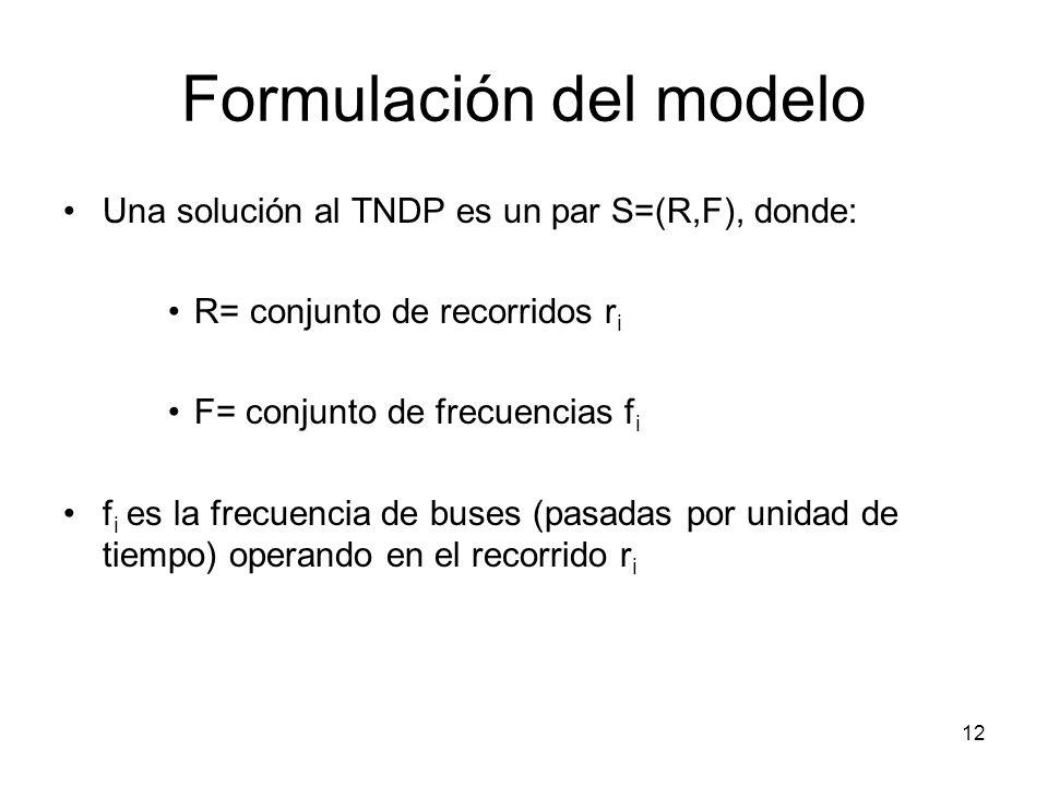 12 Formulación del modelo Una solución al TNDP es un par S=(R,F), donde: R= conjunto de recorridos r i F= conjunto de frecuencias f i f i es la frecue