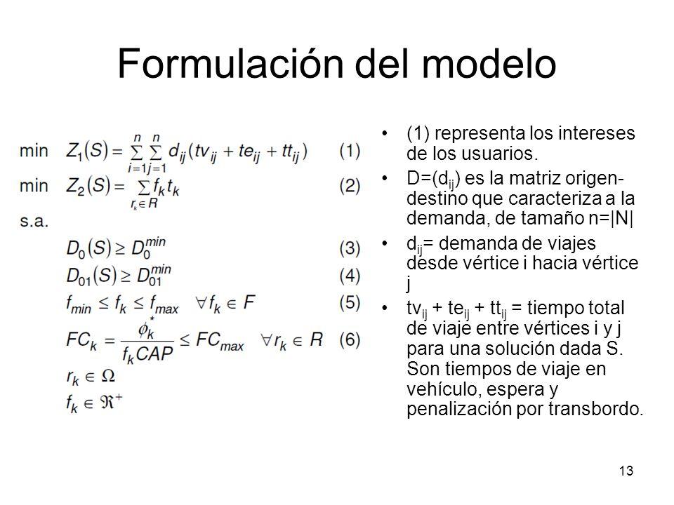13 Formulación del modelo (1) representa los intereses de los usuarios. D=(d ij ) es la matriz origen- destino que caracteriza a la demanda, de tamaño