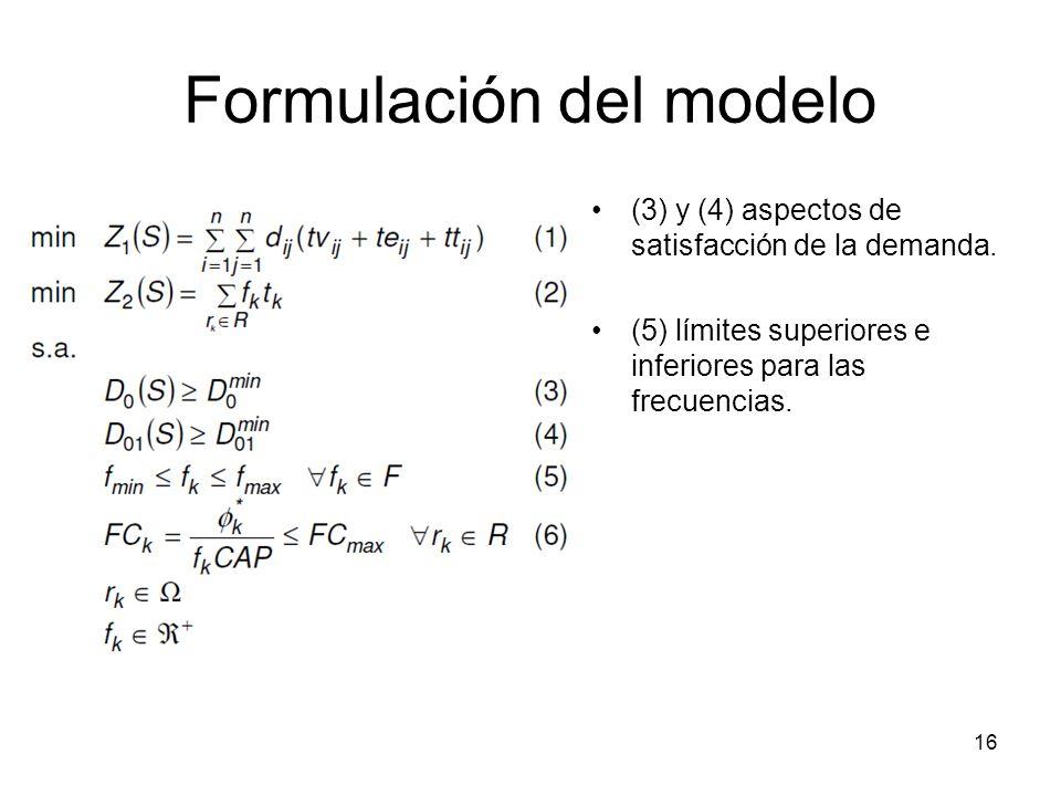 17 Formulación del modelo FC k = factor de carga de los buses del recorrido k FC max = máximo factor de carga permitido en cualquier solución.