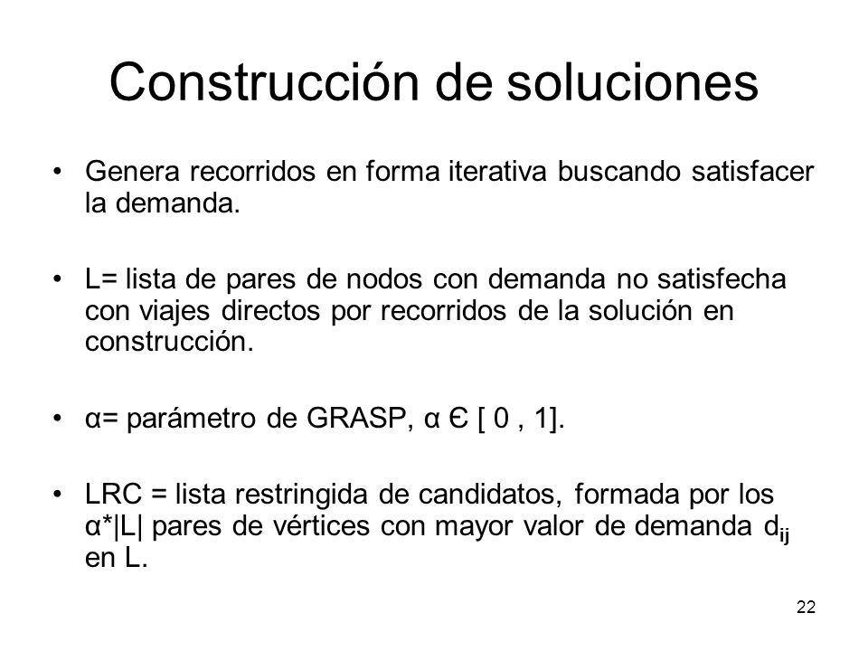22 Construcción de soluciones Genera recorridos en forma iterativa buscando satisfacer la demanda. L= lista de pares de nodos con demanda no satisfech