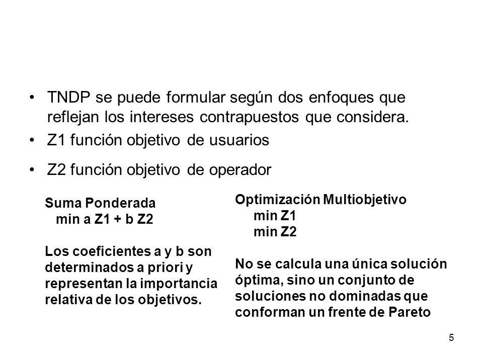 5 TNDP se puede formular según dos enfoques que reflejan los intereses contrapuestos que considera. Z1 función objetivo de usuarios Z2 función objetiv
