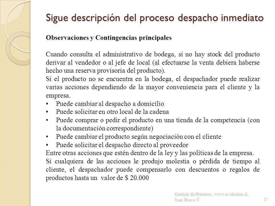 Sigue descripción del proceso despacho inmediato Gestión de Procesos, www.evolucion.cl, Juan Bravo C.17 Observaciones y Contingencias principales Cuan
