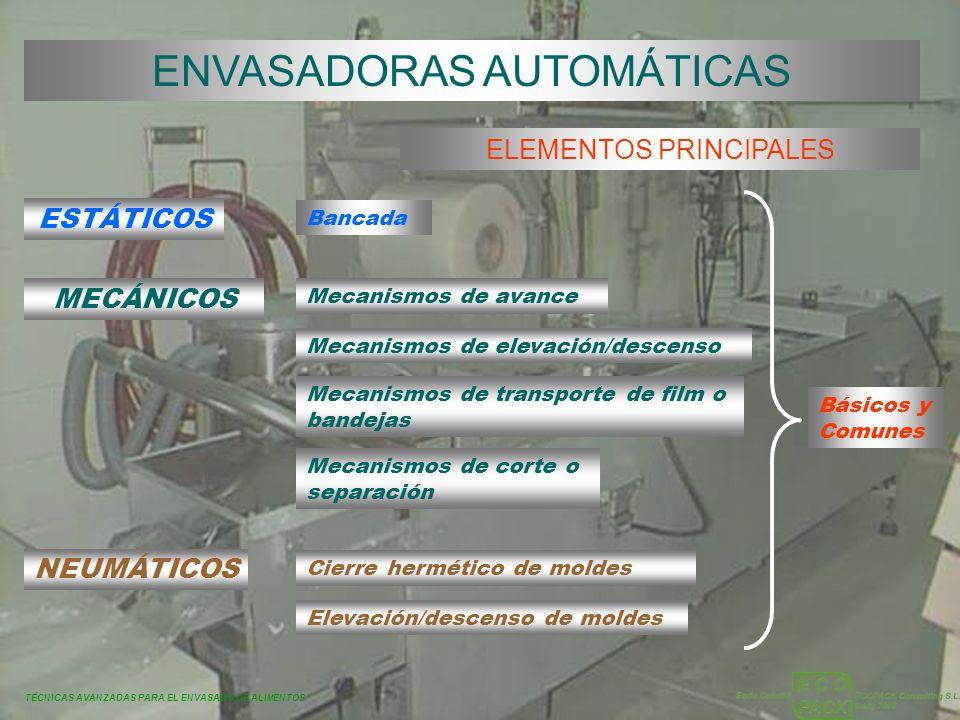 TÉCNICAS AVANZADAS PARA EL ENVASADO DE ALIMENTOS ENVASADORAS AUTOMÁTICAS ELEMENTOS PRINCIPALES ESTÁTICOS MECÁNICOS Bancada Mecanismos de avance Mecani