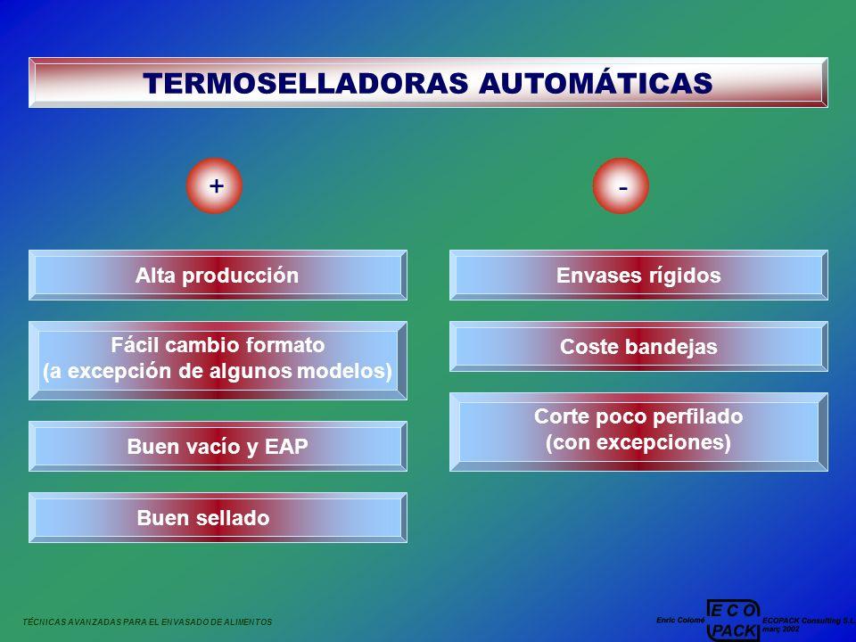 TÉCNICAS AVANZADAS PARA EL ENVASADO DE ALIMENTOS TERMOSELLADORAS AUTOMÁTICAS +- Alta producción Fácil cambio formato (a excepción de algunos modelos)