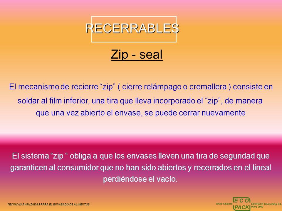 TÉCNICAS AVANZADAS PARA EL ENVASADO DE ALIMENTOSRECERRABLES Zip - seal El mecanismo de recierre zip ( cierre relámpago o cremallera ) consiste en sold