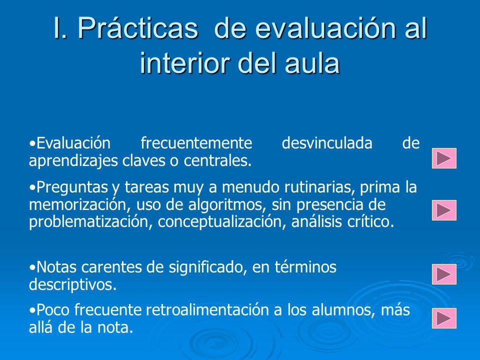 I. Prácticas de evaluación al interior del aula Evaluación frecuentemente desvinculada de aprendizajes claves o centrales. Preguntas y tareas muy a me