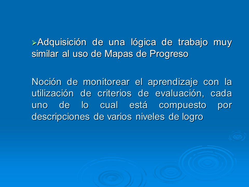 Adquisición de una lógica de trabajo muy similar al uso de Mapas de Progreso Adquisición de una lógica de trabajo muy similar al uso de Mapas de Progr