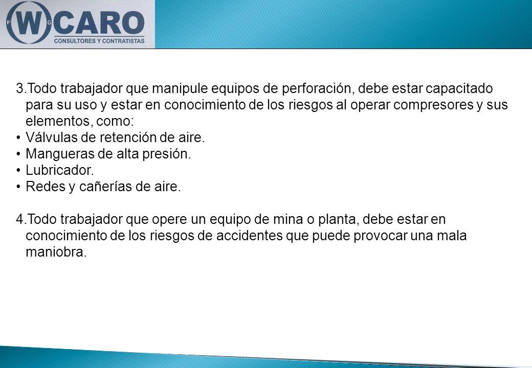 3.Todo trabajador que manipule equipos de perforación, debe estar capacitado para su uso y estar en conocimiento de los riesgos al operar compresores