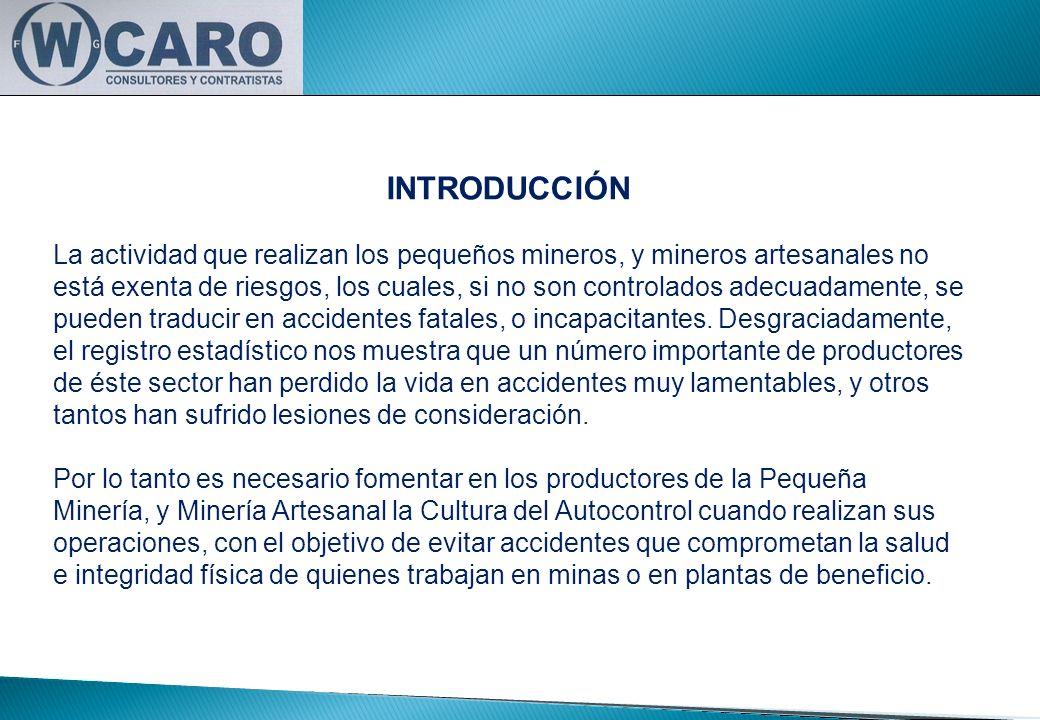 INTRODUCCIÓN La actividad que realizan los pequeños mineros, y mineros artesanales no está exenta de riesgos, los cuales, si no son controlados adecua