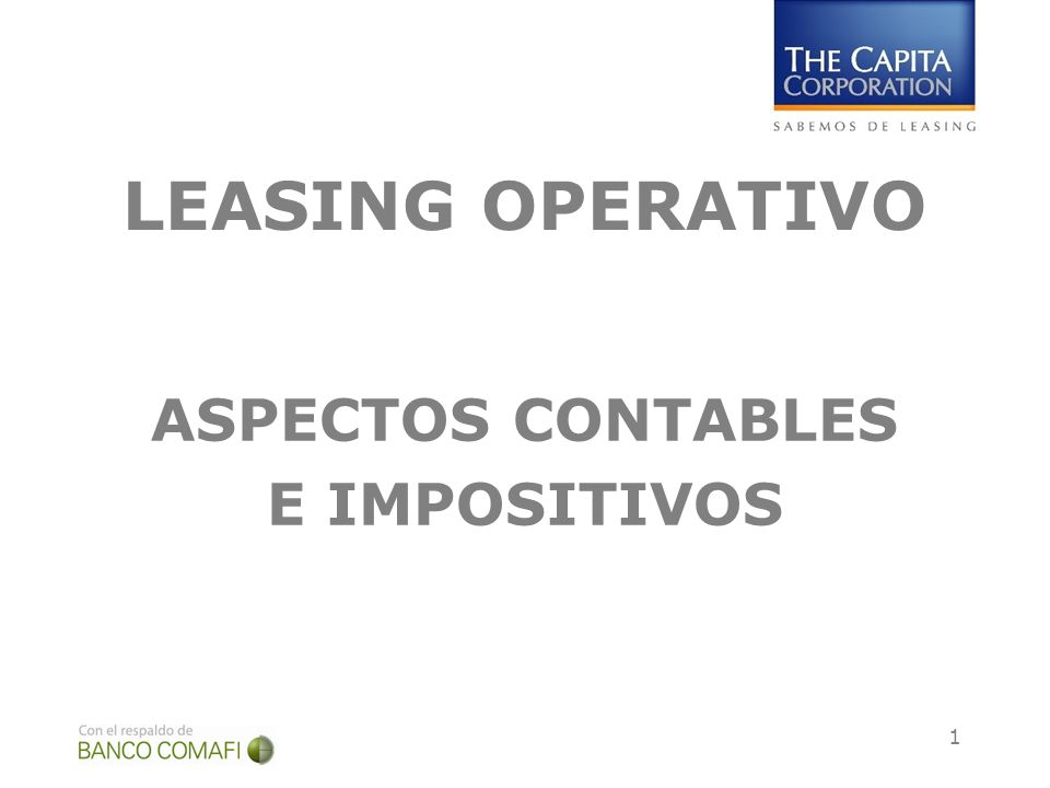 1 LEASING OPERATIVO ASPECTOS CONTABLES E IMPOSITIVOS