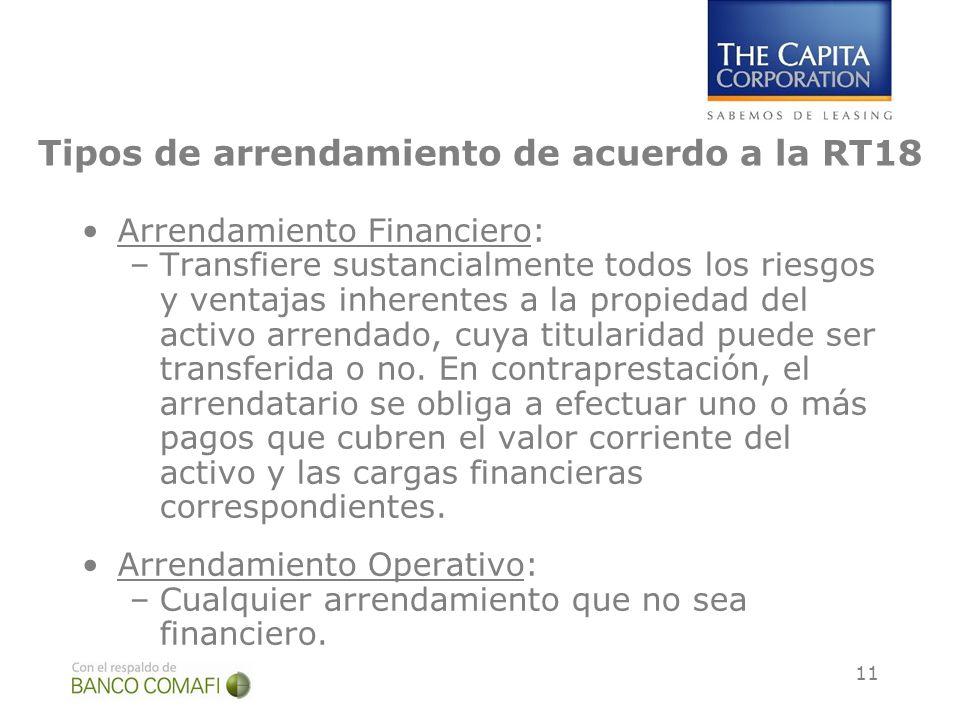 11 Tipos de arrendamiento de acuerdo a la RT18 Arrendamiento Financiero: –Transfiere sustancialmente todos los riesgos y ventajas inherentes a la prop