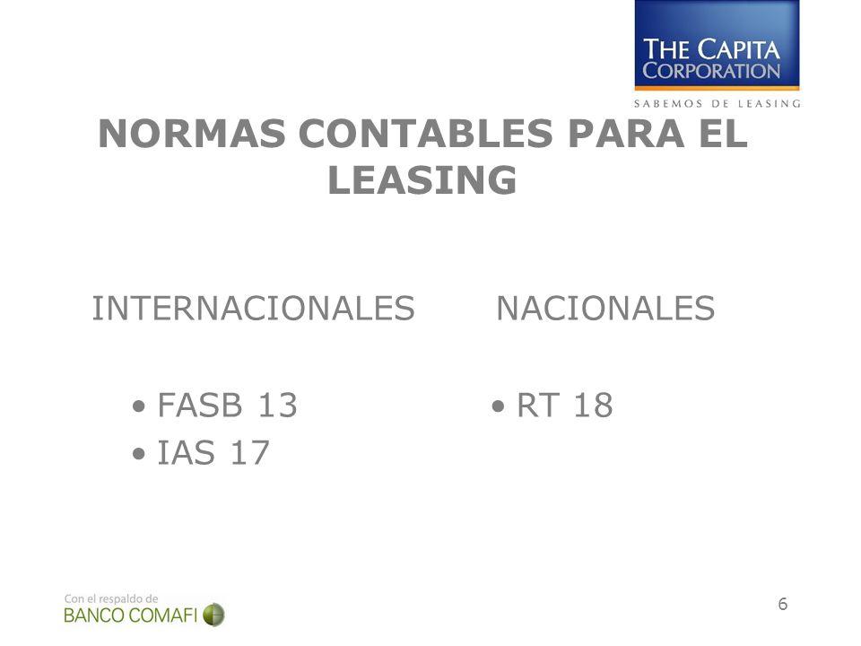 6 NORMAS CONTABLES PARA EL LEASING INTERNACIONALES FASB 13 IAS 17 NACIONALES RT 18