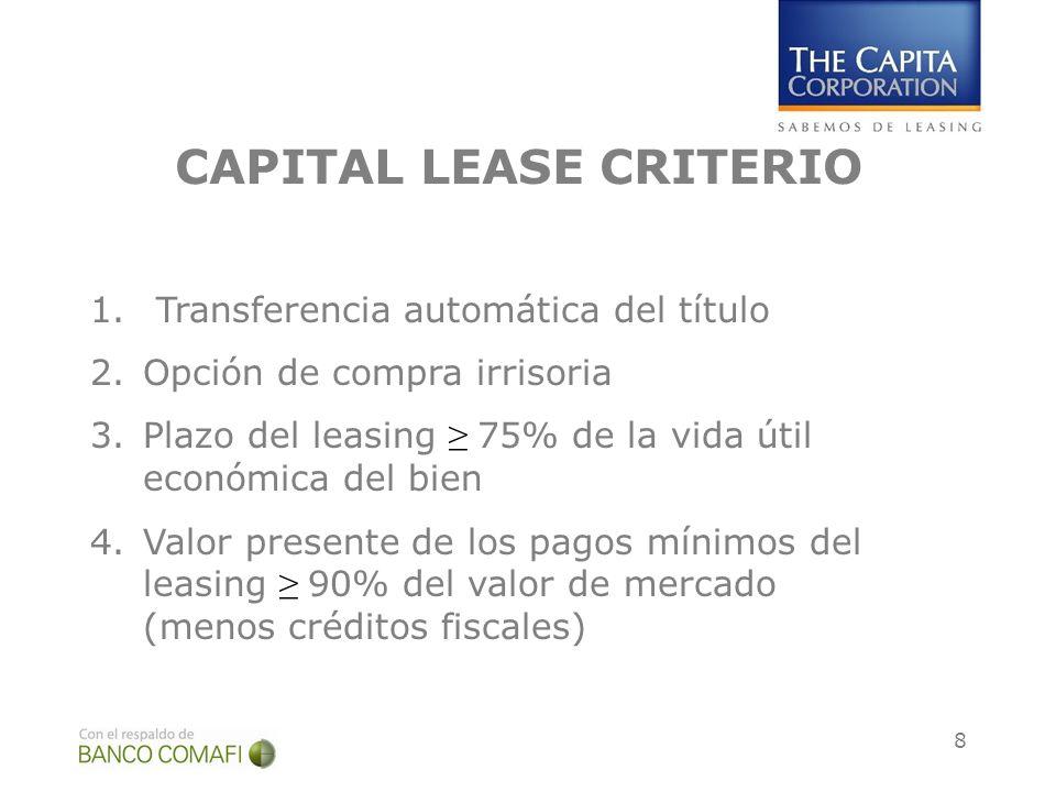 8 CAPITAL LEASE CRITERIO 1.Transferencia automática del título 2.Opción de compra irrisoria 3.Plazo del leasing 75% de la vida útil económica del bien