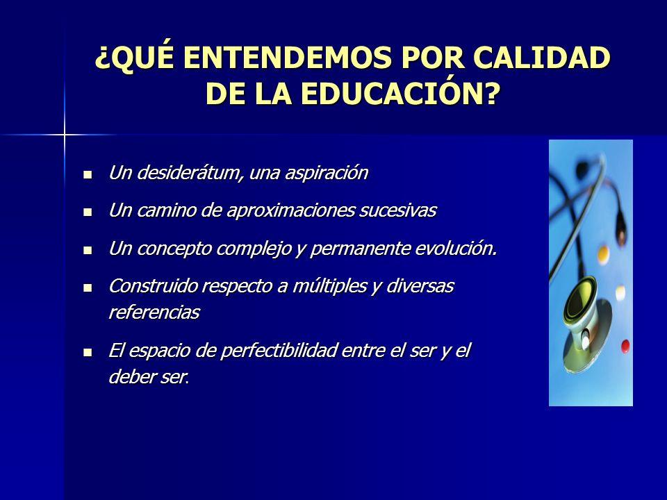 ¿QUÉ ENTENDEMOS POR CALIDAD DE LA EDUCACIÓN.
