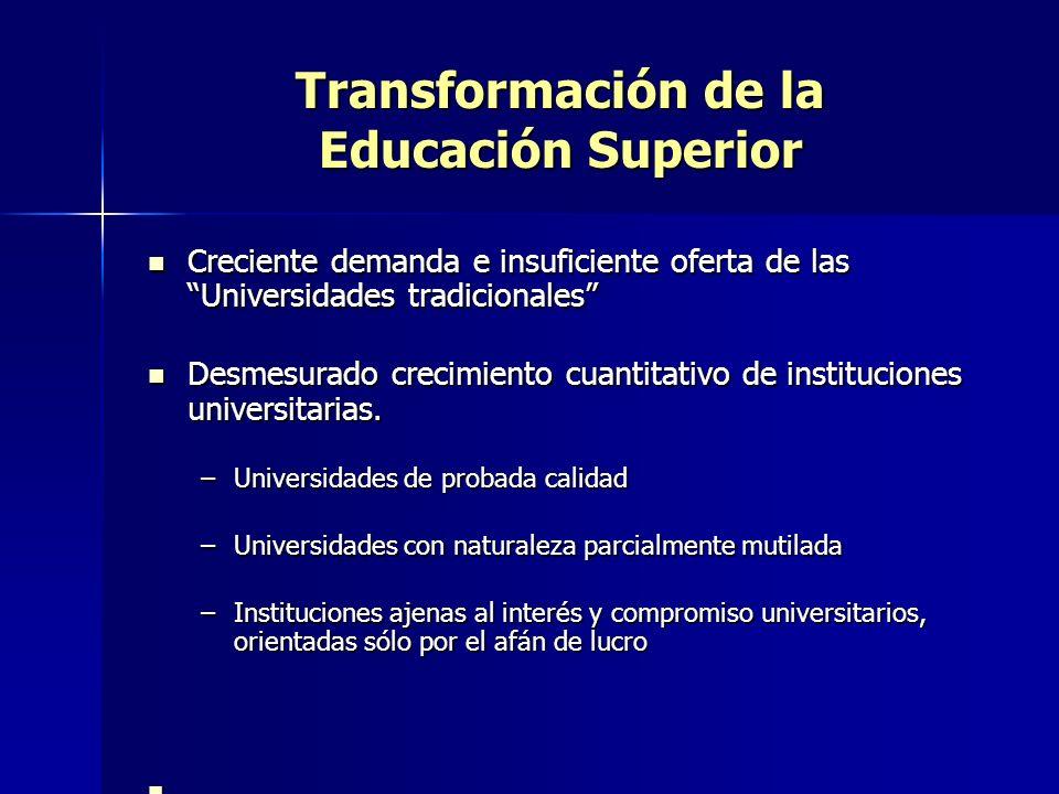 INTERNACIONALIZACIÓN DE LA EDUCACIÓN SUPERIOR Incremento acciones conjuntas de investigación y docencia Movilidad académica de docentes, investigadores y estudiantes Aparición y crecimiento de ofertas transnacionales Acuerdos interuniversitarios de reconocimiento de estudios y títulos Creciente preocupación por la calidad de la educación superior, como garantía para el reconocimiento mutuo