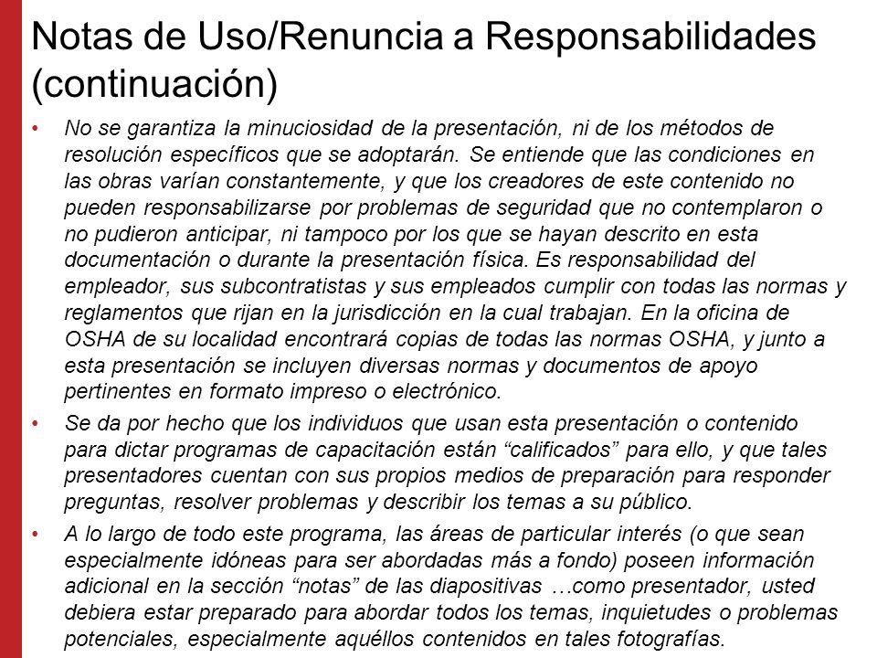 Notas de Uso/Renuncia a Responsabilidades (continuación) No se garantiza la minuciosidad de la presentación, ni de los métodos de resolución específicos que se adoptarán.