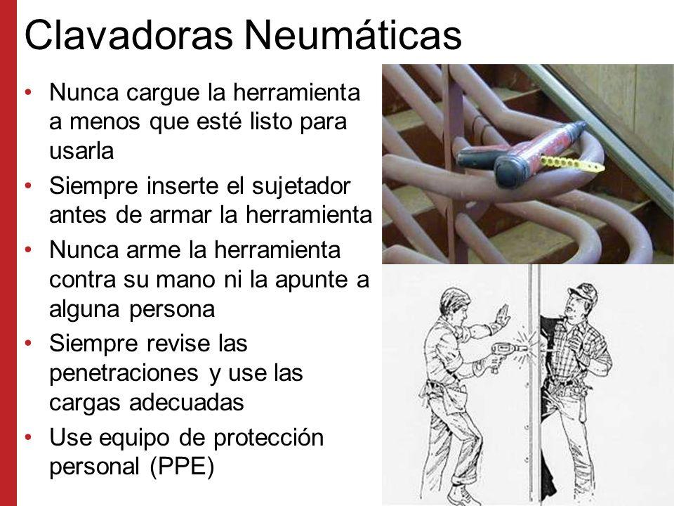 Clavadoras de Aire Se debe revisar la penetración Los seguros deben funcionar Se debe usar todo el equipo de protección personal (PPE) adecuado