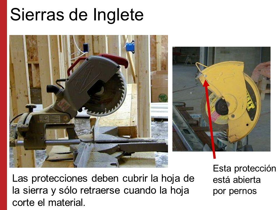 Protecciones de Máquinas Instale y mantenga todas las protecciones en las herramientas y equipo pesado