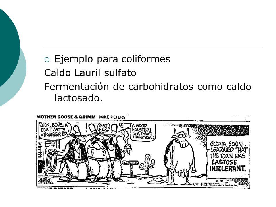 Ejemplo para coliformes Caldo Lauril sulfato Fermentación de carbohidratos como caldo lactosado.