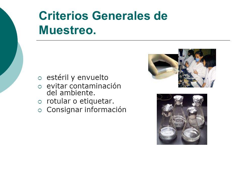 Criterios Generales de Muestreo.estéril y envuelto evitar contaminación del ambiente.