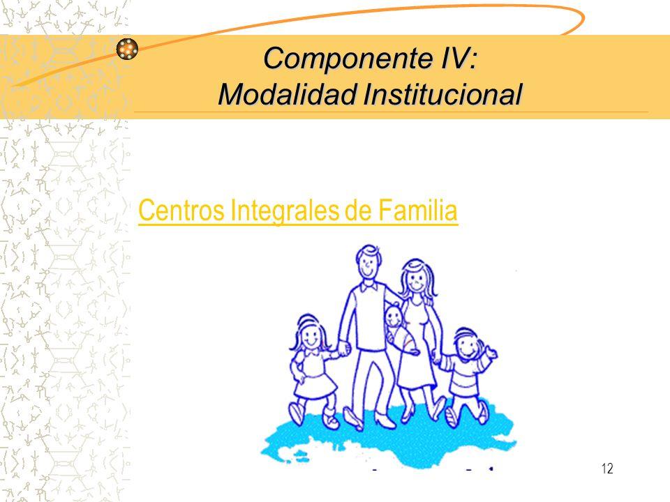 11 Componente III: Fortalecimiento Institucional y Promoción de Redes Objetivo I: Fortalecimiento de las Instituciones comunitarias para el desarrollo