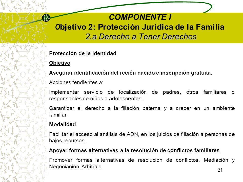 20 COMPONENTE I O bjetivo 2: Protección Jurídica de la Familia OBJETIVOS Impulsar la creación y/o modificación de normas jurídicas de protección de derechos y los derechos humanos de sus miembros.