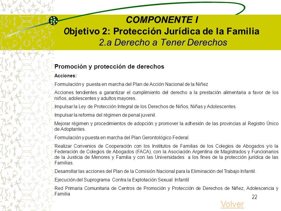 21 2.a Derecho a Tener Derechos COMPONENTE I O bjetivo 2: Protección Jurídica de la Familia 2.a Derecho a Tener Derechos Protección de la Identidad Ob