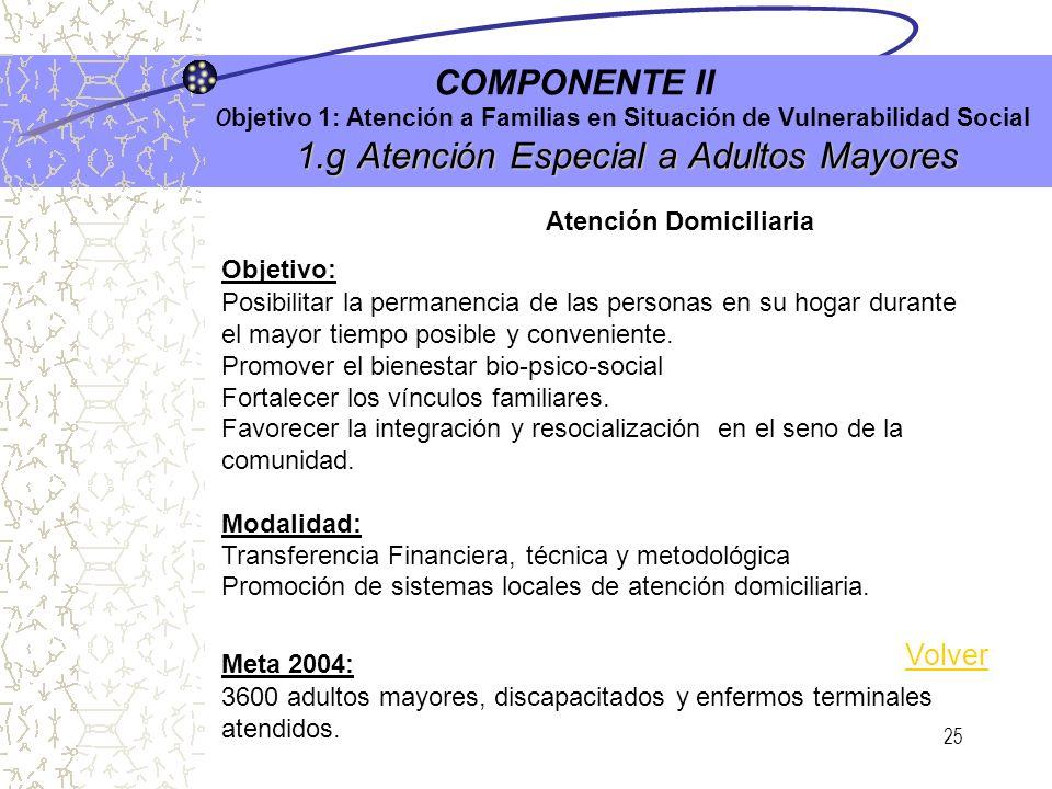 24 1.c Programa Adolescencia e Integración Social (PAIS) COMPONENTE II O bjetivo 1: Atención a Familias en Situación de Vulnerabilidad Social 1.c Prog