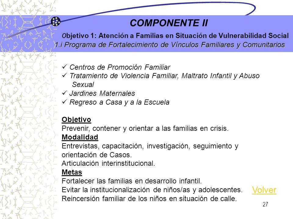 26 1.h Cuidados Institucionales para Adultos Mayores COMPONENTE II O bjetivo 1: Atención a Familias en Situación de Vulnerabilidad Social 1.h Cuidados