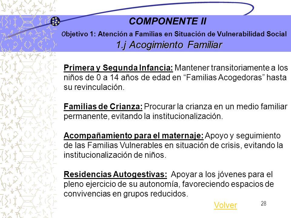 27 1.i Programa de Fortalecimiento de Vínculos Familiares y Comunitarios COMPONENTE II O bjetivo 1: Atención a Familias en Situación de Vulnerabilidad