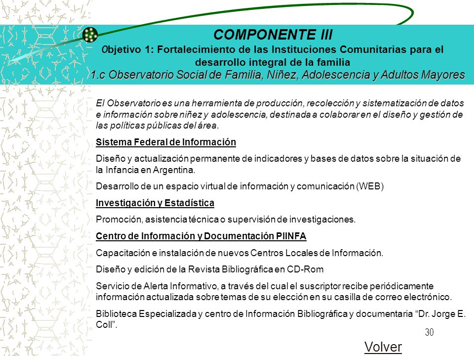 29 Objetivo El fortalecimiento de los efectores de la comunidad a través de sus organizaciones sociales, para promover y proteger los derechos individ