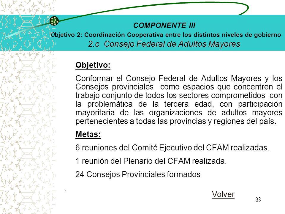 32 2.b Plan Gerontológico Federal COMPONENTE III O bjetivo 2: Coordinación Cooperativa entre los distintos niveles de gobierno 2.b Plan Gerontológico