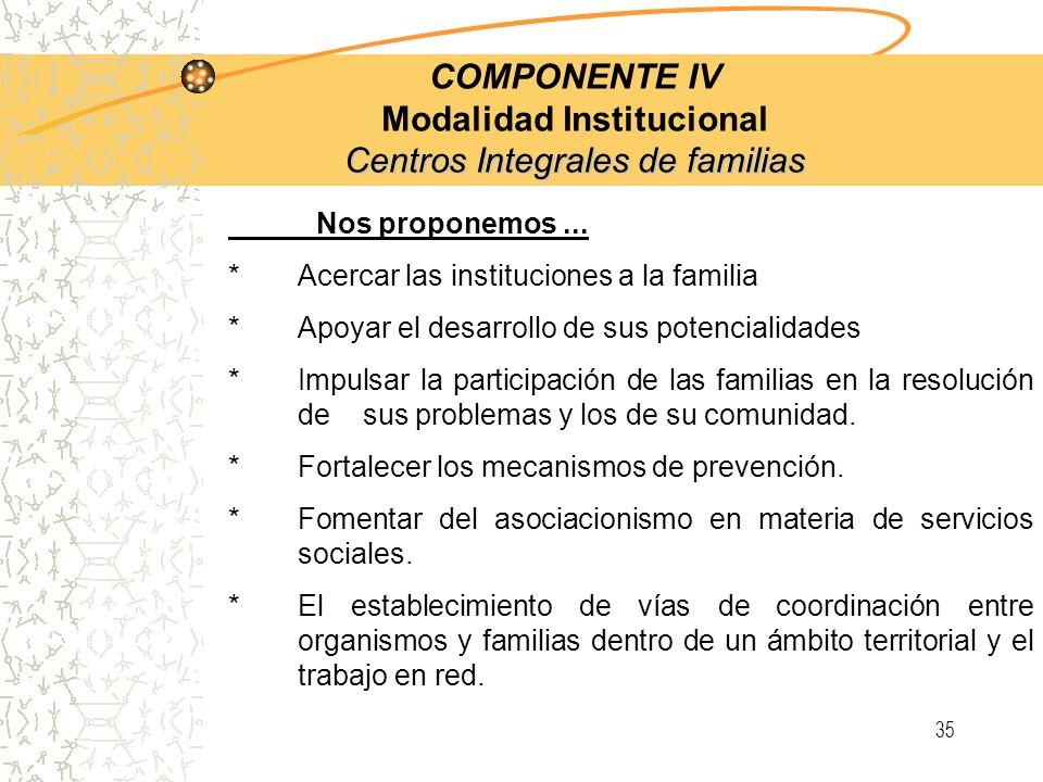 34 Centros Integrales de familias COMPONENTE IV Modalidad Institucional Centros Integrales de familias Objetivo Estos Centros tienen como fin, organiz
