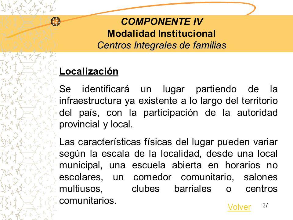 36 Centros Integrales de familias COMPONENTE IV Modalidad Institucional Centros Integrales de familias Servicios Polivalentes Información, orientación, asesoramiento o derivación a los servicios especializados o programas gubernamentales.