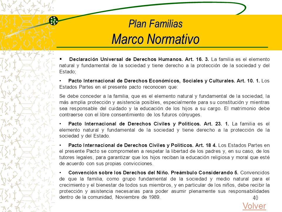 39 Plan Familias Modalidades de Intervención Enfoque incremental que permita una implementación ordenada del plan por etapas y un uso eficiente de pro