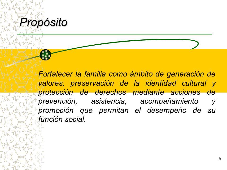 5 Propósito Fortalecer la familia como ámbito de generación de valores, preservación de la identidad cultural y protección de derechos mediante acciones de prevención, asistencia, acompañamiento y promoción que permitan el desempeño de su función social.
