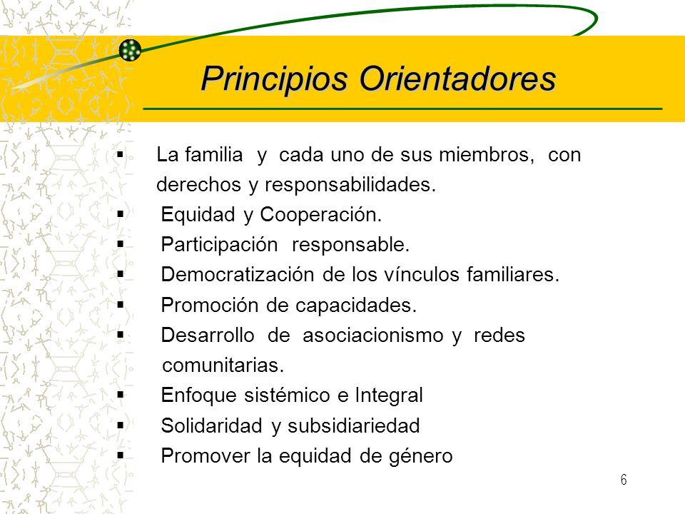 5 Propósito Fortalecer la familia como ámbito de generación de valores, preservación de la identidad cultural y protección de derechos mediante accion