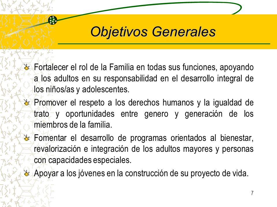7 Objetivos Generales Fortalecer el rol de la Familia en todas sus funciones, apoyando a los adultos en su responsabilidad en el desarrollo integral de los niños/as y adolescentes.