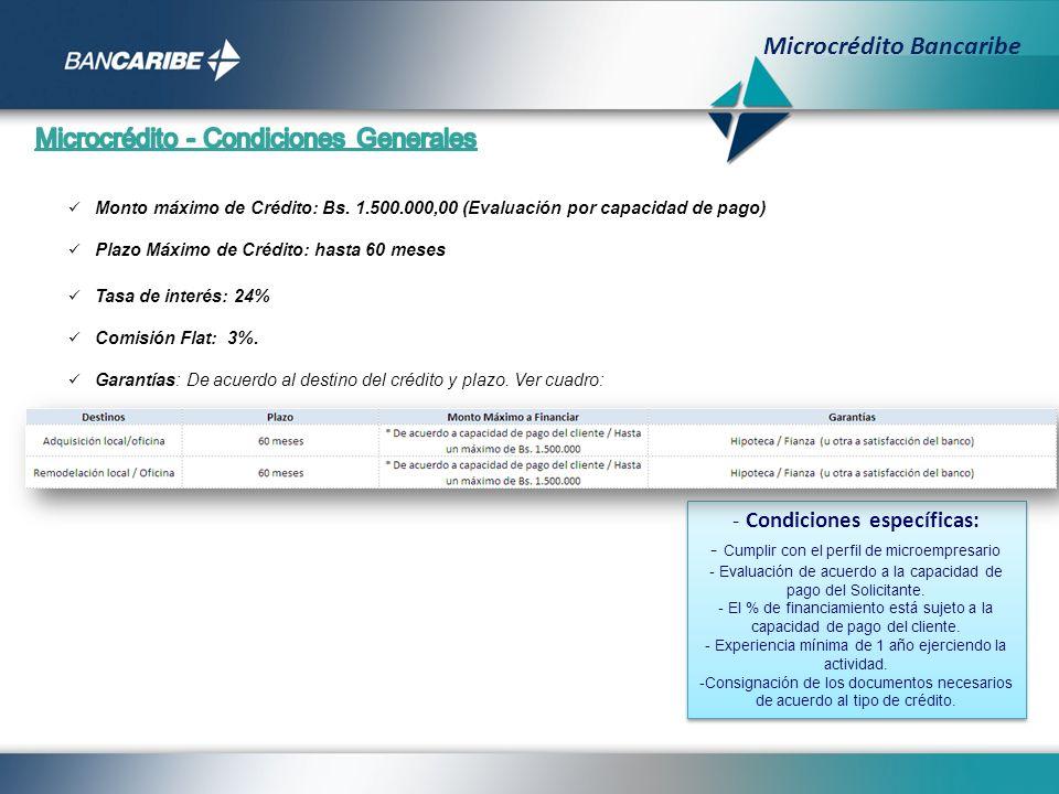 - Condiciones específicas: - Cumplir con el perfil de microempresario - Evaluación de acuerdo a la capacidad de pago del Solicitante. - El % de financ