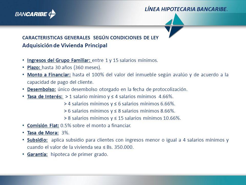CARACTERISTICAS GENERALES SEGÚN CONDICIONES DE LEY Adquisición de Vivienda Principal Ingresos del Grupo Familiar: entre 1 y 15 salarios mínimos. Plazo