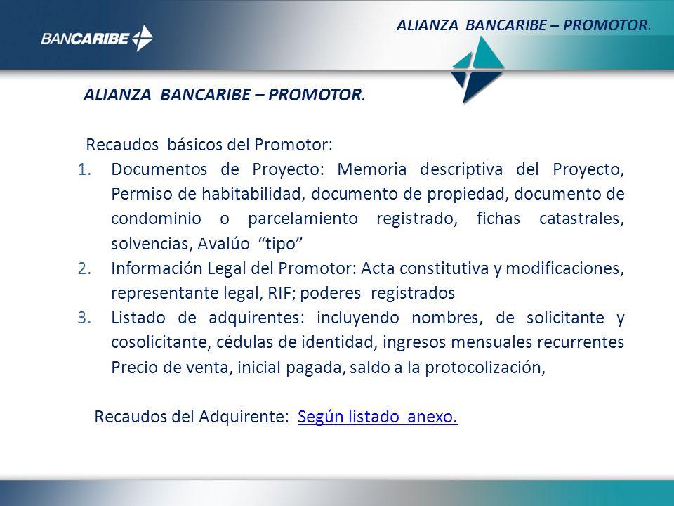 Recaudos básicos del Promotor: 1.Documentos de Proyecto: Memoria descriptiva del Proyecto, Permiso de habitabilidad, documento de propiedad, documento