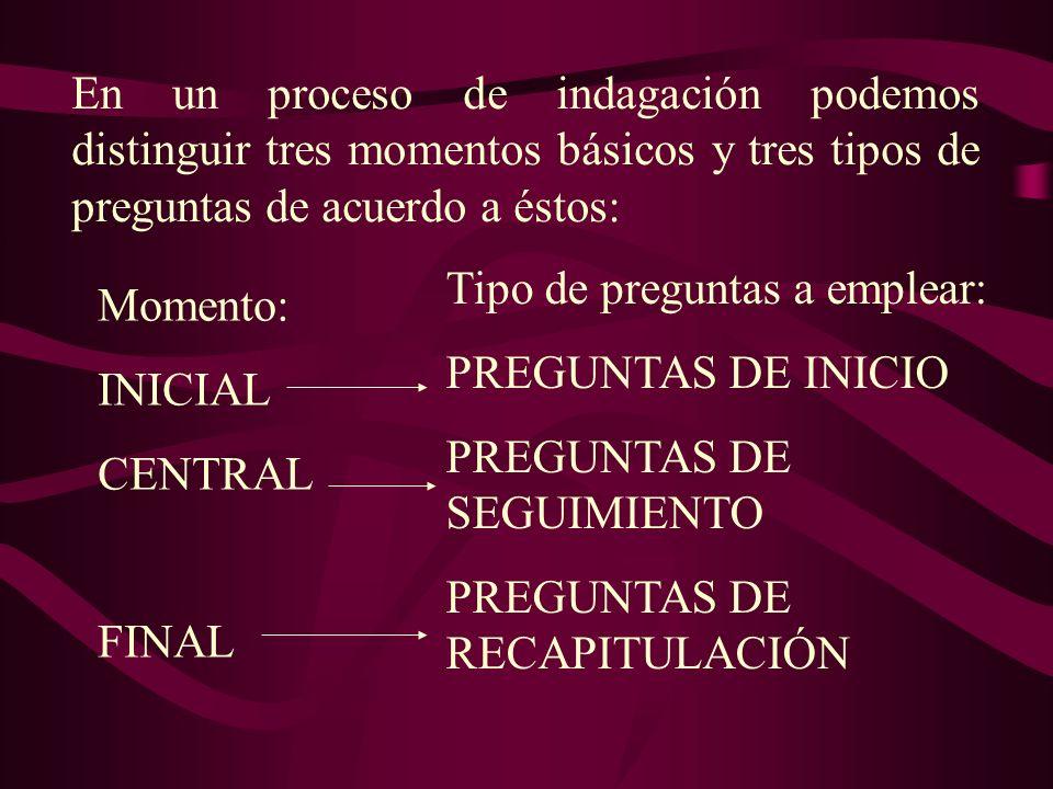 En un proceso de indagación podemos distinguir tres momentos básicos y tres tipos de preguntas de acuerdo a éstos: Tipo de preguntas a emplear: PREGUN
