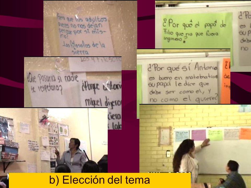 b) Elección del tema