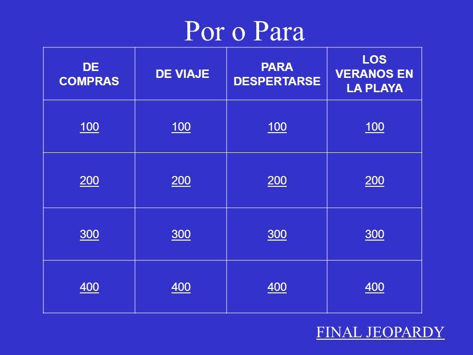 DE COMPRAS DE VIAJE PARA DESPERTARSE LOS VERANOS EN LA PLAYA 100 200 300 400 FINAL JEOPARDY